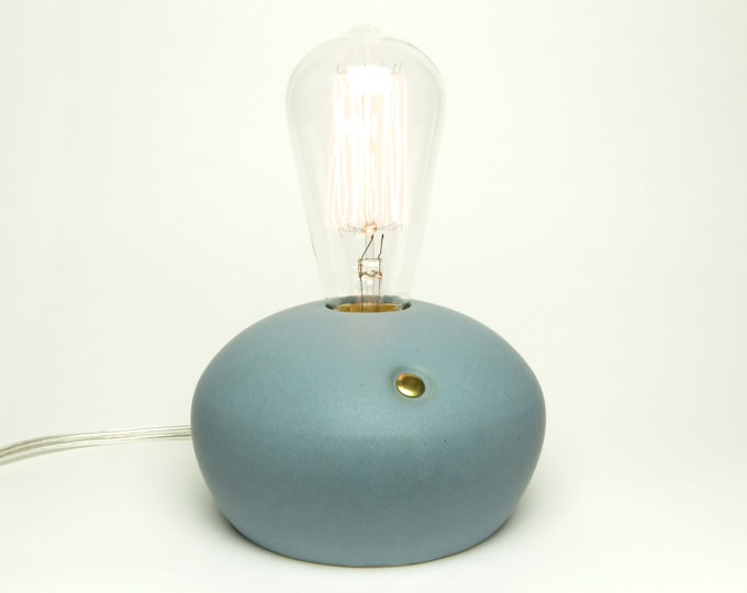 wheel thrown stoneware lamp, modern lamp, touch sensor ceramic lamp, edison bulb lamp, matte blue table lamp, studio pottery lamp