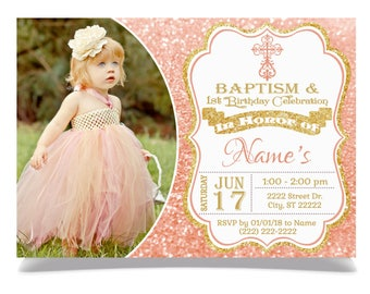 Baptism And Birthday Invitation Etsy