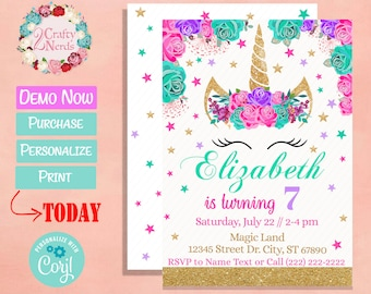 Unicorn Birthday Invitation Party Hot Pink Turquoise Purple