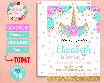 Unicorn Birthday Invitation Download Etsy