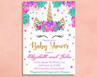 Unicorn baby shower invitation etsy unicorn baby shower invitation party invite hot pink turquoise lavender purple and gold glitter bar printed with envelopes printable filmwisefo