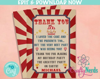 Vintage Blue /& Red Circus Carnival Personalized Childrens Birthday Party Thank You Cards