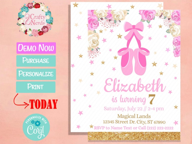 Ballerina Shoes Birthday Invitation Party Pastel Pink And White