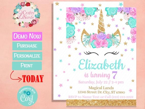 Unicorn Birthday Invitation Party Pastel Pink Turquoise