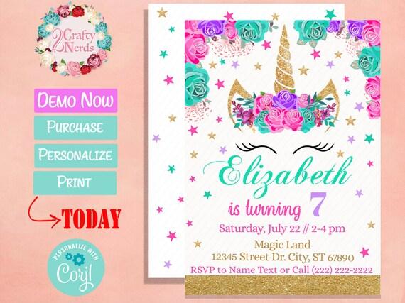 Unicorn Birthday Invitation Party Hot Pink Turquoise Purple