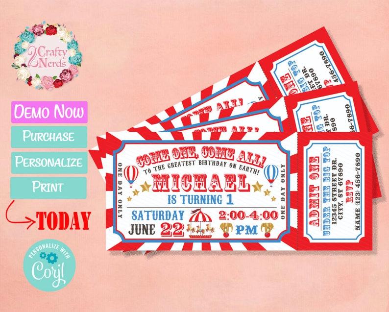 Carnival Ticket Birthday Invitation Circus Party