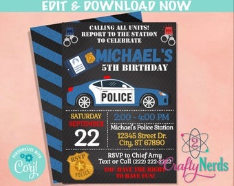 Police Birthday Invitation, Police Party, Cop Theme, Police Theme   Editable Instant Download   Edit Online NOW Corjl   INSTANT ACCESS