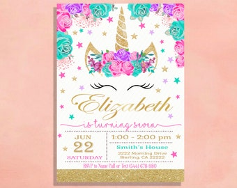 Unicorn Birthday Invitation Party Invite Hot Pink, Turquoise, Lavender Purple and Gold Glitter Bar Printed with Envelopes Printable Shower