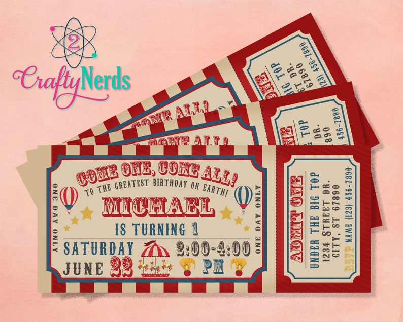 Carnival Circus Ticket Birthday Invitation Vintage Printable Digital