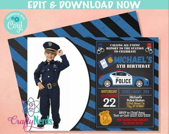 Police Birthday Invitation with Photo, Police Party, Cop invitation   Editable Instant Download   Edit Online NOW Corjl   INSTANT ACCESS