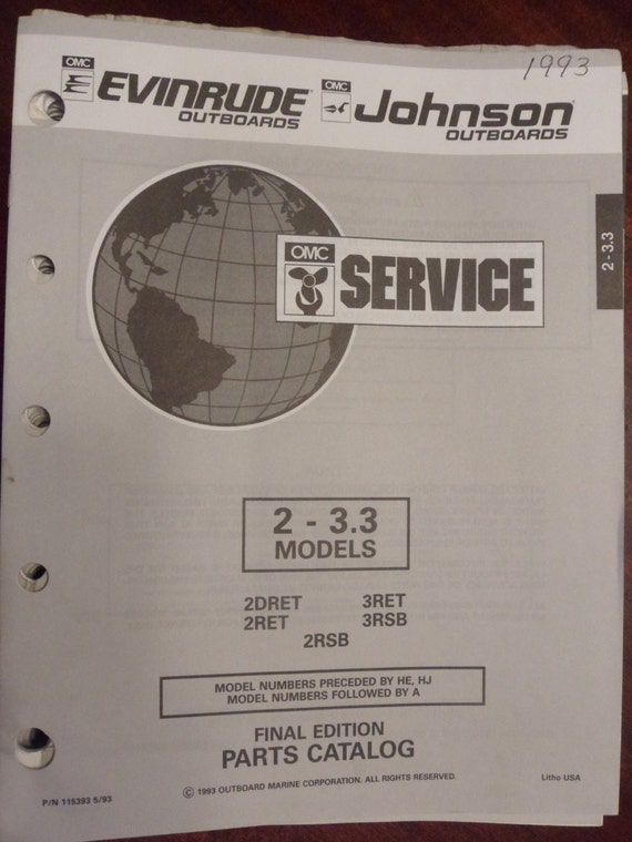 1993 Evinrude Johnson Outboard Motor Parts Catalog (T)