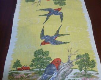 Vintage North American Bird Dish Towel With Birds