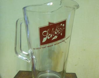 Vintage Schlitz Beer Glass Pitcher, 70 Ounce Schlitz Beer Glass Pitcher   (T)