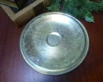 Silver Plated Round Tray, Communion Tray, Wedding Tray  (KK)