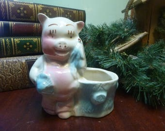 American Bisque Pig Planter, American Bisque Pottery   (T)