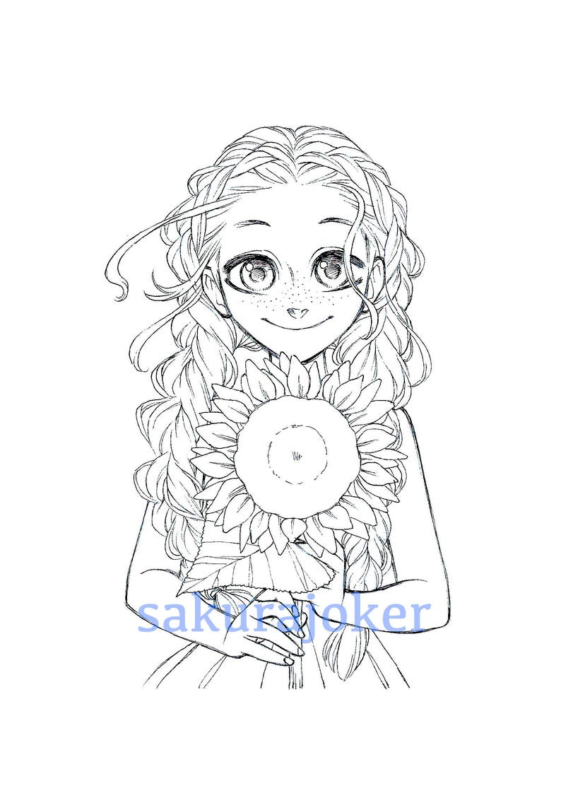 Manga Style Sunflower Girl Printable Coloring Page Pdf Etsy