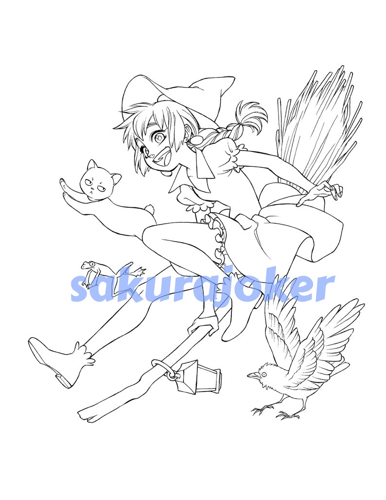 Manga Style Witch Printable Coloring Page Pdf Instant Etsy