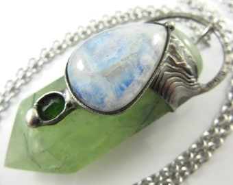 the may queen - prehnite crystal pendant with moonstone & chrome diopside