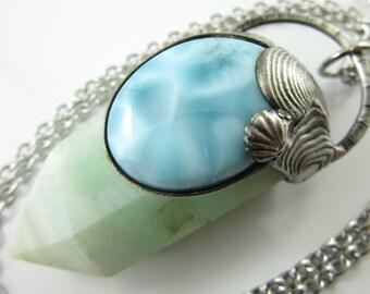 the sea witch - calcite, labradorite & larimar crystal pendant