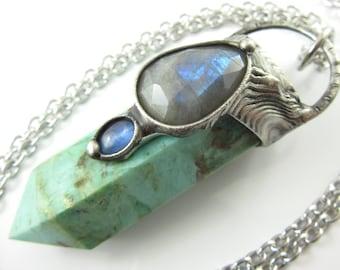 circe - chrysocolla crystal pendant with turquoise, labradorite & apatite