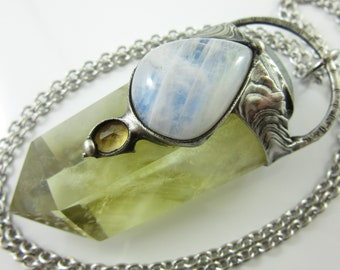 the sun and moon - moonstone, labradorite & citrine crystal pendant