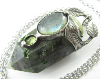 the green witch - prehnite crystal pendant with labradorite & peridot