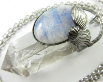 the undine - moonstone, larimar & fire and ice quartz crystal pendant