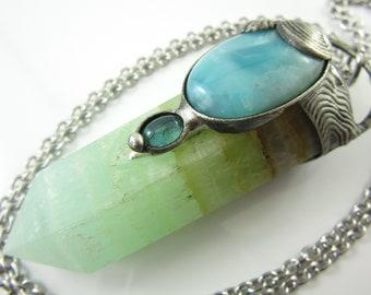 thetis - calcite, apatite, labradorite & larimar crystal pendant