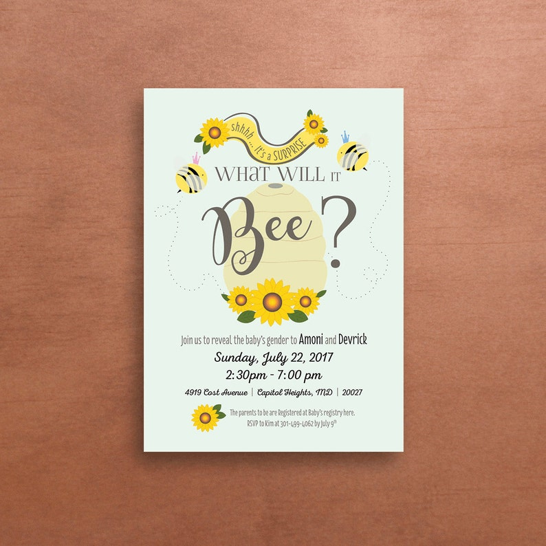 Bumble Bee Baby Shower Invitation What Will It Bee Gender Etsy