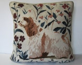 Vintage Spaniel Dog needlepoint throw pillow, 16 quot x 16 quot , dog throw pillow, handmade, brown and beige, animal lover decor, gift for them