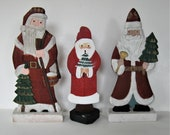 3 Vintage painted wood Santa Claus Figurines, 12 quot , St. Nicolas, Christmas trees, Primitive folk art, Holiday decor, table centerpiece, gift