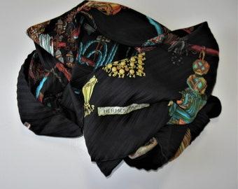 Vintage Hermes Passementerie pleated Silk Scarf, 34