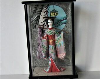 Going For A Walk by Yana Bem Signed Monoprint Original Modern Art Paper Dolls Red Lacquer Frame Asian Inspired One of a Kind Jana Bemova