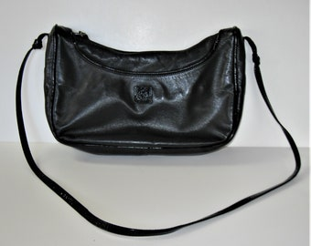b8811dcd16422 Vintage Anne Klein for Calderon Black Leather shoulder Purse
