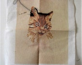 Vintage 70 39 s unfinished cat Needlepoint canvas, Erica Wilson, 11 quot x 14 quot , Columbia Minerva picture kit,brown kitty throw pillow, gift for her