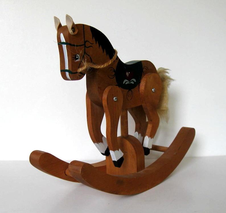 gift idea Heart Nursery decor 11 x 9 Primitive Folk Art jointed legs Vintage painted wood Rocking Horse