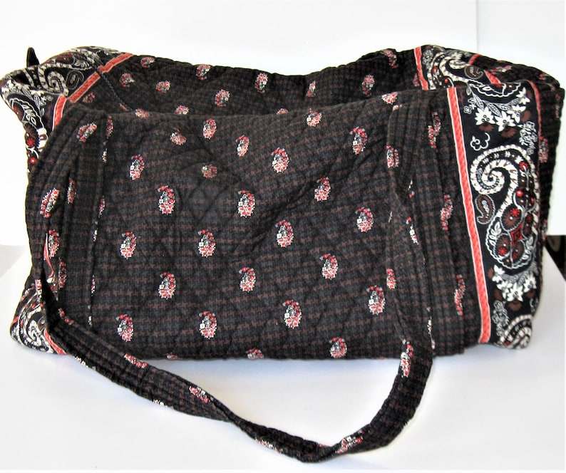 5807f69b355e Extra large Vera Bradley red and black French Country paisley quilted  fabric travel duffel bag