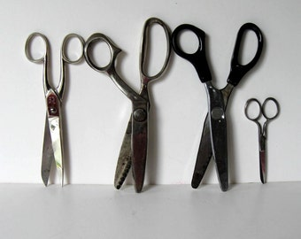 Lot of 4 sets of vintage scissors, Solingen, pinking shears, sewing supplies, Made in USA, Made in Germany, craft tool, gift idea