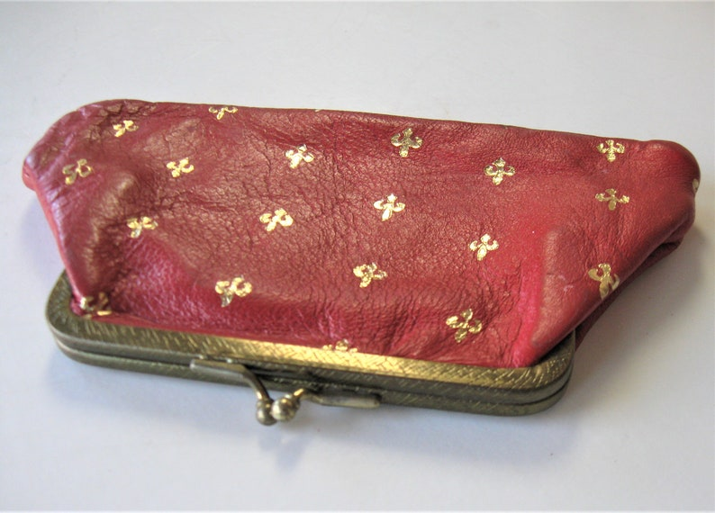 Florentine wallet gift idea gold stamped Fleur de Lis design Vintage gold stamped red Italian leather coin purse 6 12 x 4 kiss lock