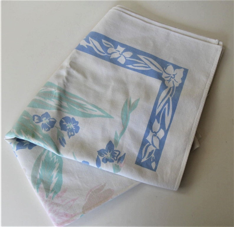49 x 44 Retro linens floral gift idea prop Cutters rectangle Shabby cotton Mid Century Floral Tablecloth blue and turquoise