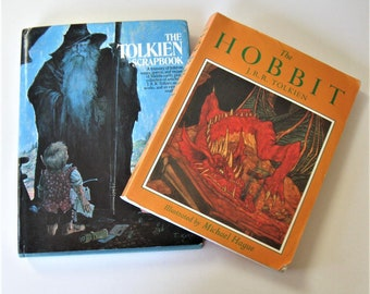 """2 Vintage J.R.R. Tolkien books, """"The Hobbit"""", illustrated by Michael Hague, """"The Tolkien Scrapbook, classic literature, fantasy, gift idea"""
