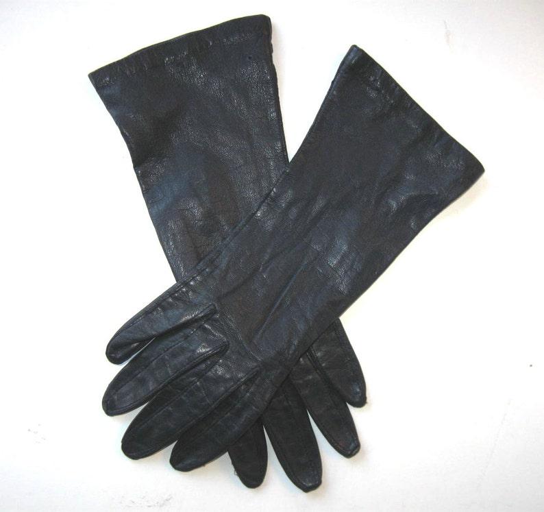 5e4da261c Vintage Long Woman's Leather Gloves Blue Black size 6 | Etsy