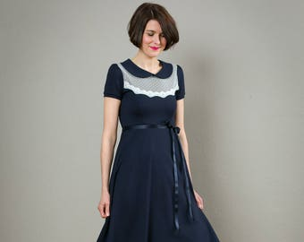 """Elegant Dress""""Florence"""", dark blue and off-white with lace"""