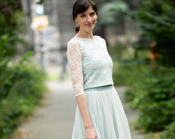Bridal Midi Skirt made of fine tulle with sage green underskirt - Smilla