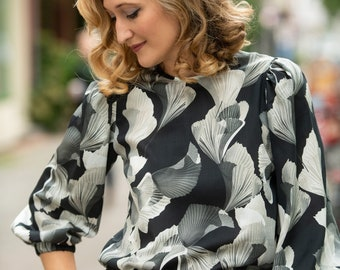 """Bow blouse """" Cosma"""" black with a pattern"""