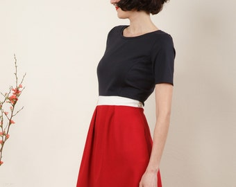"""Dress """"Elisa"""", in red, dark blue and off-white"""