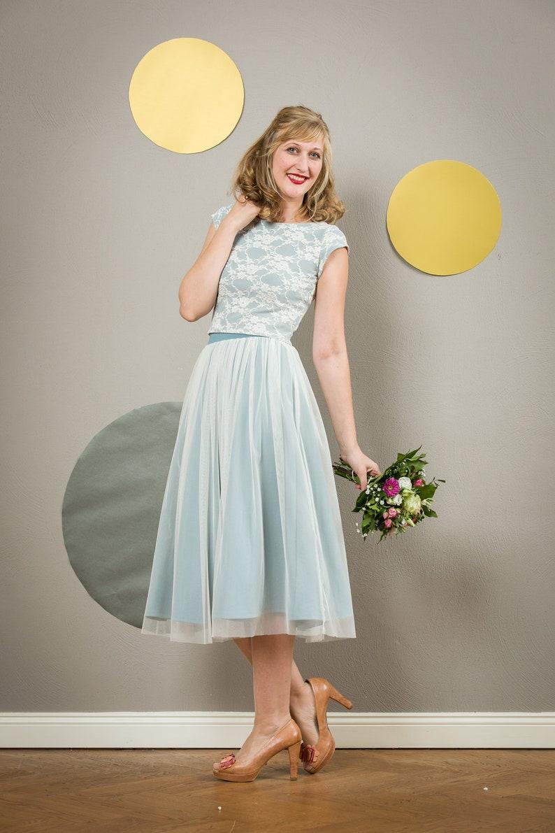 Bridal midi skirt Smilla in fine tulle with pastel blue underskirt