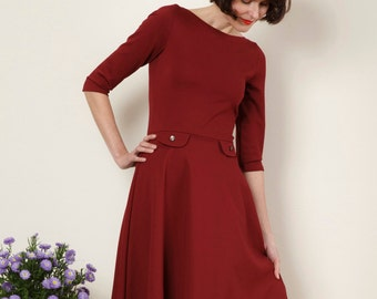"""Dress """"Elisa"""", with a round skirt in bordeaux red"""