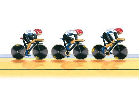 Ltd Edition Fine Art Print A3 size Team GB Women/'s Cycling Pursuit Team 2012