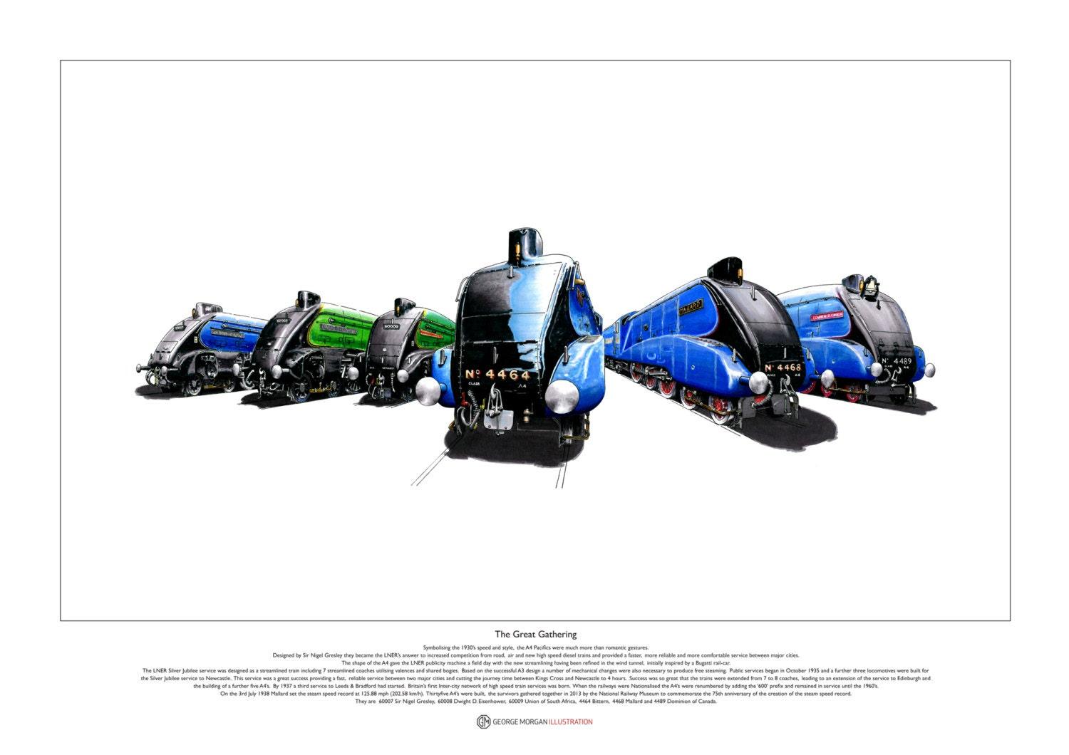 Six LNER A4 Pacific Steam Locomotives ART POSTER A2 size